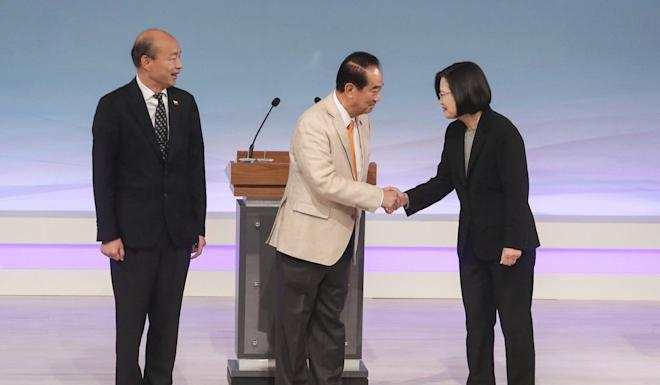 Taiwan's 2020 presidential election candidates, from left, Han Kuo-yu from the KMT, the People First Party's James Soong, and Tsai Ing-wen, from the DPP, ahead of the debate. Photo: AP