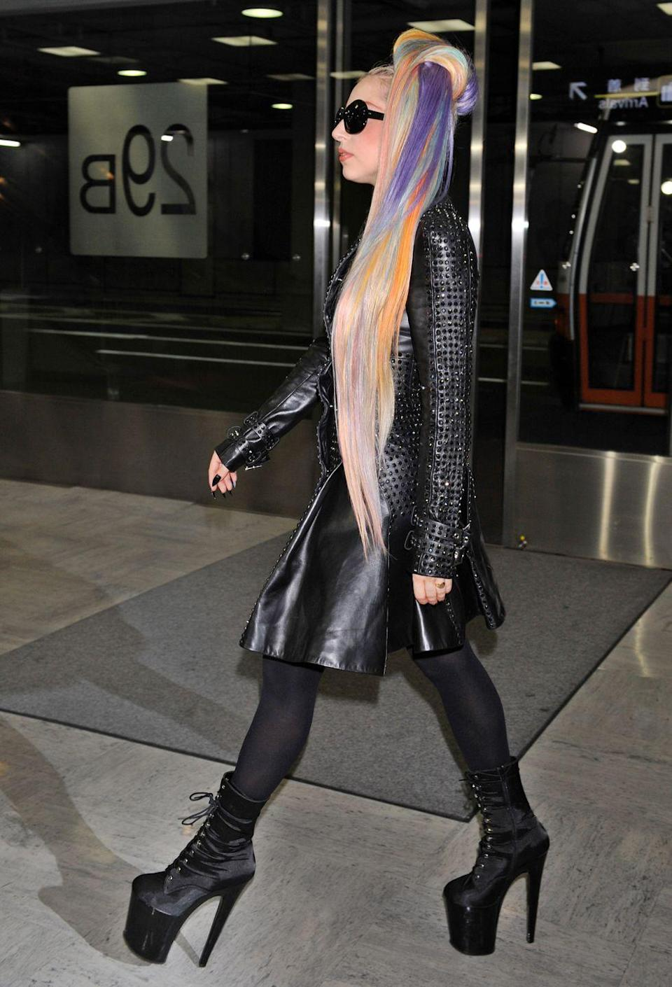 <p><strong>Lady Gaga, 2012: </strong>At Tokyo's Narita airport in 2012. Never not wearing ridiculous airport shoes. </p>