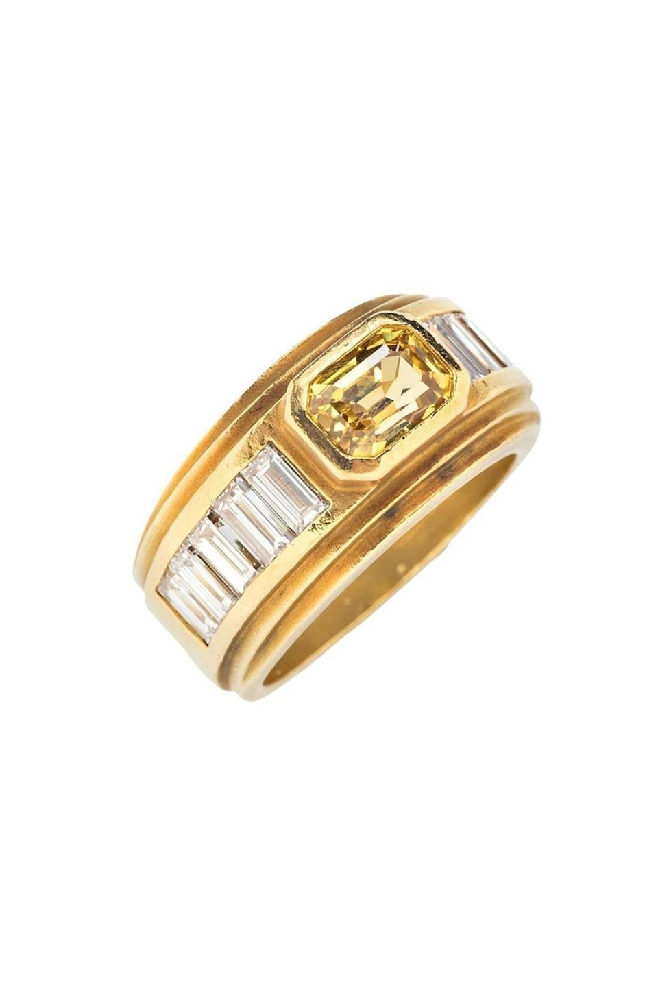 """<p><strong>Tiina Smith</strong></p><p>tiinasmithjewelry.com</p><p><strong>$7200.00</strong></p><p><a href=""""https://tiinasmithjewelry.com/products/kieselstein-cord-sapphire-diamond-ring?variant=33240126718038"""" rel=""""nofollow noopener"""" target=""""_blank"""" data-ylk=""""slk:Shop Now"""" class=""""link rapid-noclick-resp"""">Shop Now</a></p><p>Vintage rings like this '90s sapphire and diamond are a simple way to search for a one-of-a-kind piece. Bonus, buying vintage also ensures maximum sustainability. </p>"""