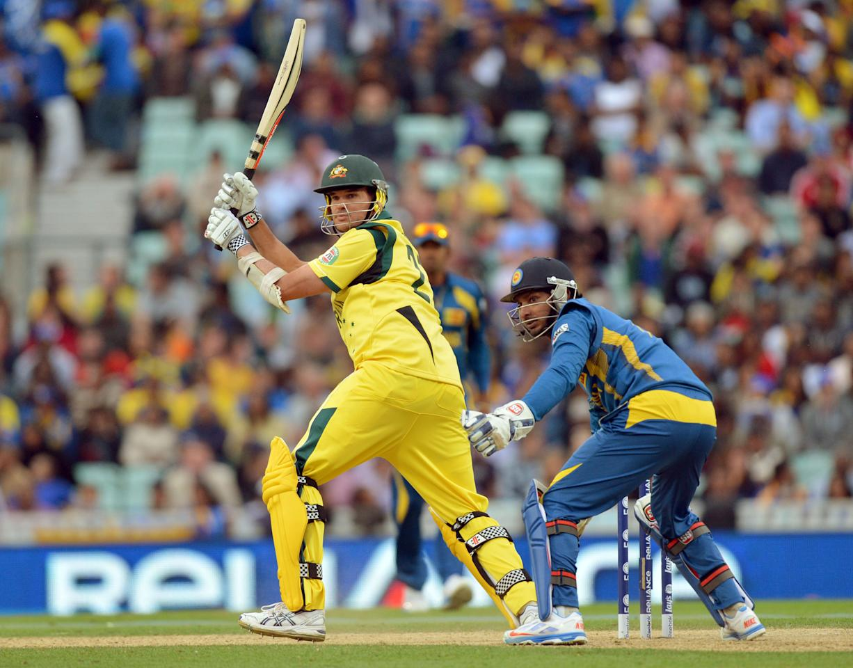 Australia's Clint McKay bats during the ICC Champions Trophy match at The Oval, London.