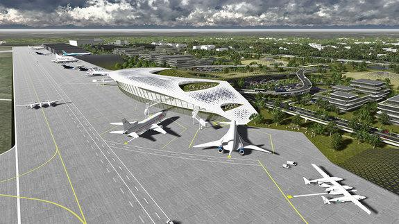 Artist's rendering of the proposed Houston Spaceport at Ellington Field in Texas.