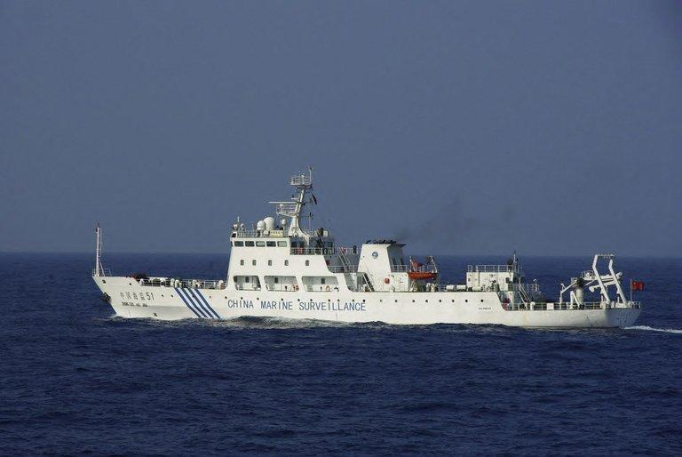 A Chinese surveillance ship is seen near disputed, Japan-controlled islands in the East China Sea, on March 12, 2013