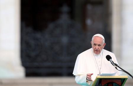 Pope Francis leads the Regina Coeli prayer at Alexander Nevski square, in Sofia, Bulgaria May 5, 2019. REUTERS/Stoyan Nenov