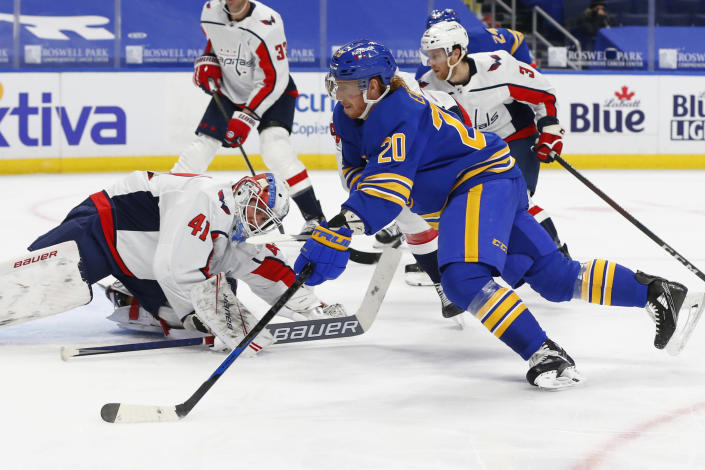 Buffalo Sabres forward Cody Eakin (20) is stopped by Washngton Capitals goalie Vitek Vanecek (41) during the second period of an NHL hockey game Friday, Jan. 15, 2021, in Buffalo, N.Y. (AP Photo/Jeffrey T. Barnes)