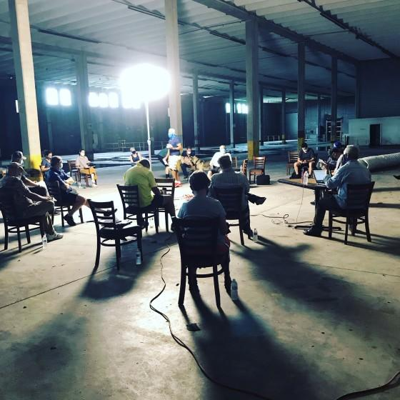 "A shot of a production meeting using Covid-19 safety measures on the set of ""The Card Counter"" in Biloxi, Mississippi"