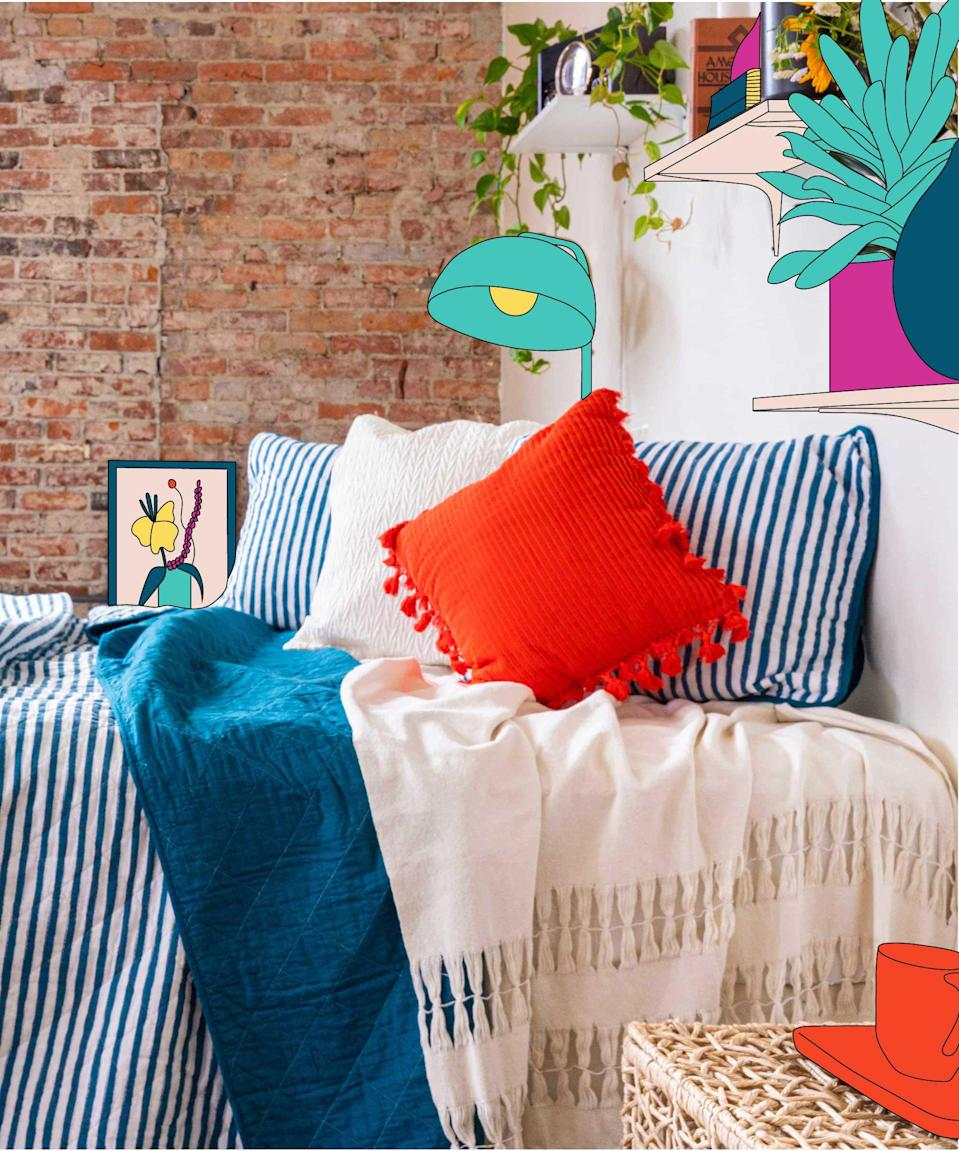 "Find your beach, amiright? As we edge our way into summer, adorn your bed with our ocean-blue Harley quilt. Lightweight enough for slumber even in the dead of July, it's a must-have summer accessory. <br><br><em>Editor's note: The Harley Quilt will be restocked and available online 7/7</em>.<br><br><strong>Refinery29</strong> Lennon Collection Premium Cotton Textured Throw Blanket, $, available at <a href=""https://www.amazon.com/Refinery29-Collection-Premium-Textured-Blanket/dp/B0831CW11F/ref=pd_di_sccai_2/130-7372327-6913345?_encoding=UTF8&pd_rd_i=B0831CW11F&pd_rd_r=72ccb5d5-4d20-48a9-9703-583c44a7f307&pd_rd_w=OLHw7&pd_rd_wg=58YM4&pf_rd_p=7d91b49a-6b22-4dfd-8a2a-1555d90a4698&pf_rd_r=BYZX9MMXYP3KH61XVF8E&psc=1&refRID=BYZX9MMXYP3KH61XVF8E"" rel=""nofollow noopener"" target=""_blank"" data-ylk=""slk:Amazon"" class=""link rapid-noclick-resp"">Amazon</a><br><br><strong>Refinery29</strong> Refinery29 