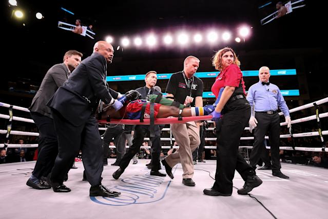 Patrick Day is taken out of the ring on a stretcher after being knocked out by Charles Conwell in the 10th round at Wintrust Arena on Oct. 12, 2019 in Chicago. (Dylan Buell/Getty Images)