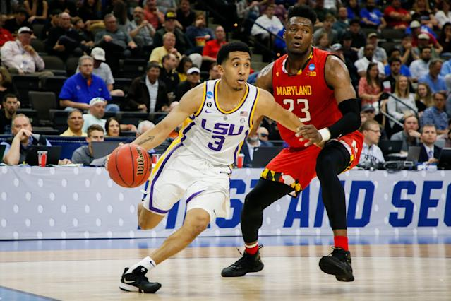 JACKSONVILLE, FL - MARCH 23: LSU Tigers guard Tremont Waters (3) dribbles the ball as Maryland Terrapins forward Bruno Fernando (23) defends during a game at VyStar Veterans Memorial Arena on March 23, 2019 in Jacksonville, Florida. (Photo by Matt Marriott/NCAA Photos via Getty Images)