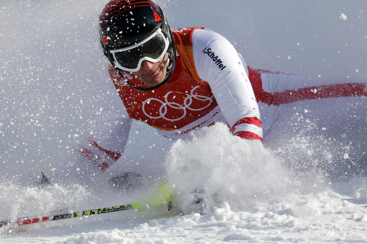 <p>Matthias Mayer of Austria crashes out during the Alpine Skiing Men's Combined at Jeongseon Alpine Centre on February 13, 2018 in Pyeongchang-gun, South Korea. (Photo by Alexis Boichard/Agence Zoom/Getty Images) </p>