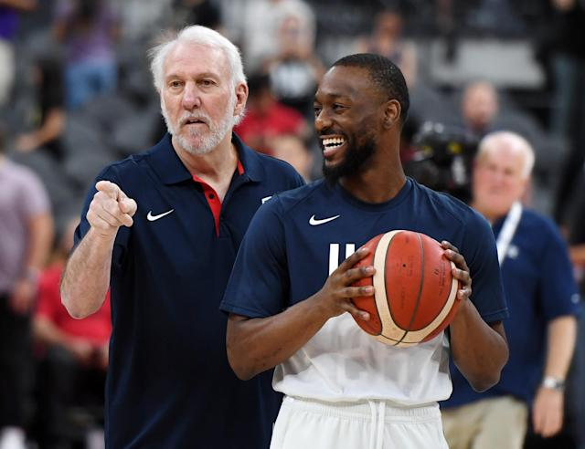 Spurs coach Gregg Popovich and new Celtics point guard Kemba Walker are first-time leaders for Team USA. (Getty Images)