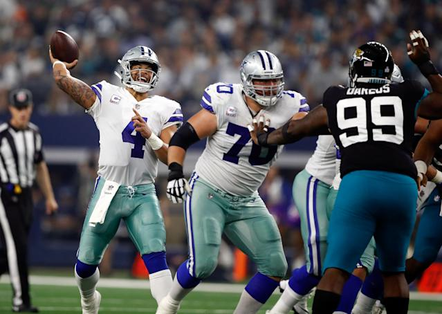 Dak Prescott and the Cowboys stunned the Jaguars in a 40-7 win against the league's top-rated pass defense. (Getty)