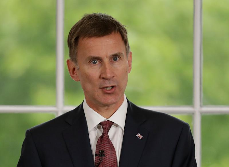 Britain's Foreign Secretary Jeremy Hunt launches his leadership campaign for the Conservative Party in London, Monday June 10, 2019. British Prime Minister Theresa May stepped down Friday as Conservative Party leader after failing to secure Parliament's backing for her European Union withdrawal deal. (AP Photo/Matt Dunham)