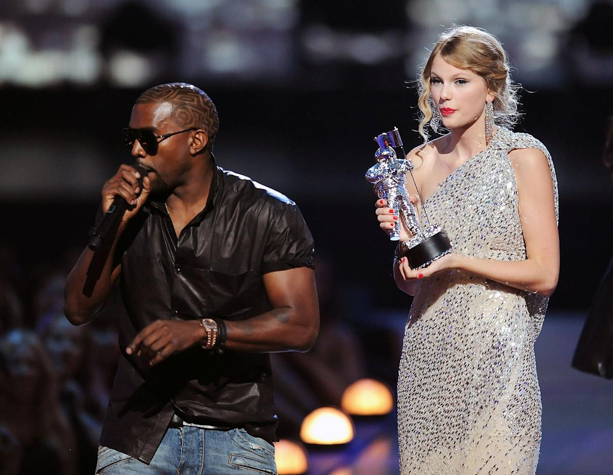 "In 2009, when Swift was in the middle of accepting her award for best female video for ""You Belong With Me,"" West stormed the stage and took the mic from the stunned star.  ""Yo Taylor,"" West began, ""I'm really happy for you, I'ma let you finish, but Beyoncé has one of the best videos of all time. One of the best videos of all time!""  At the time, it was reported that Swift was seen crying backstage after the incident, though she had to quickly pull it together to perform the song that won her the Moonman to begin with."