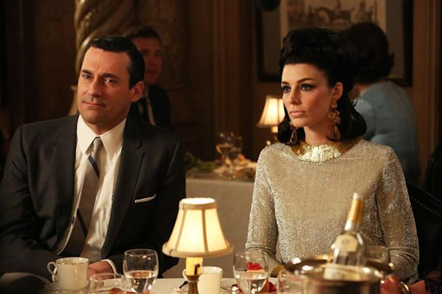 "Don Draper (Jon Hamm) and Megan Draper (Jessica Pare) in the ""Mad Men"" episode, ""For Immediate Release."""