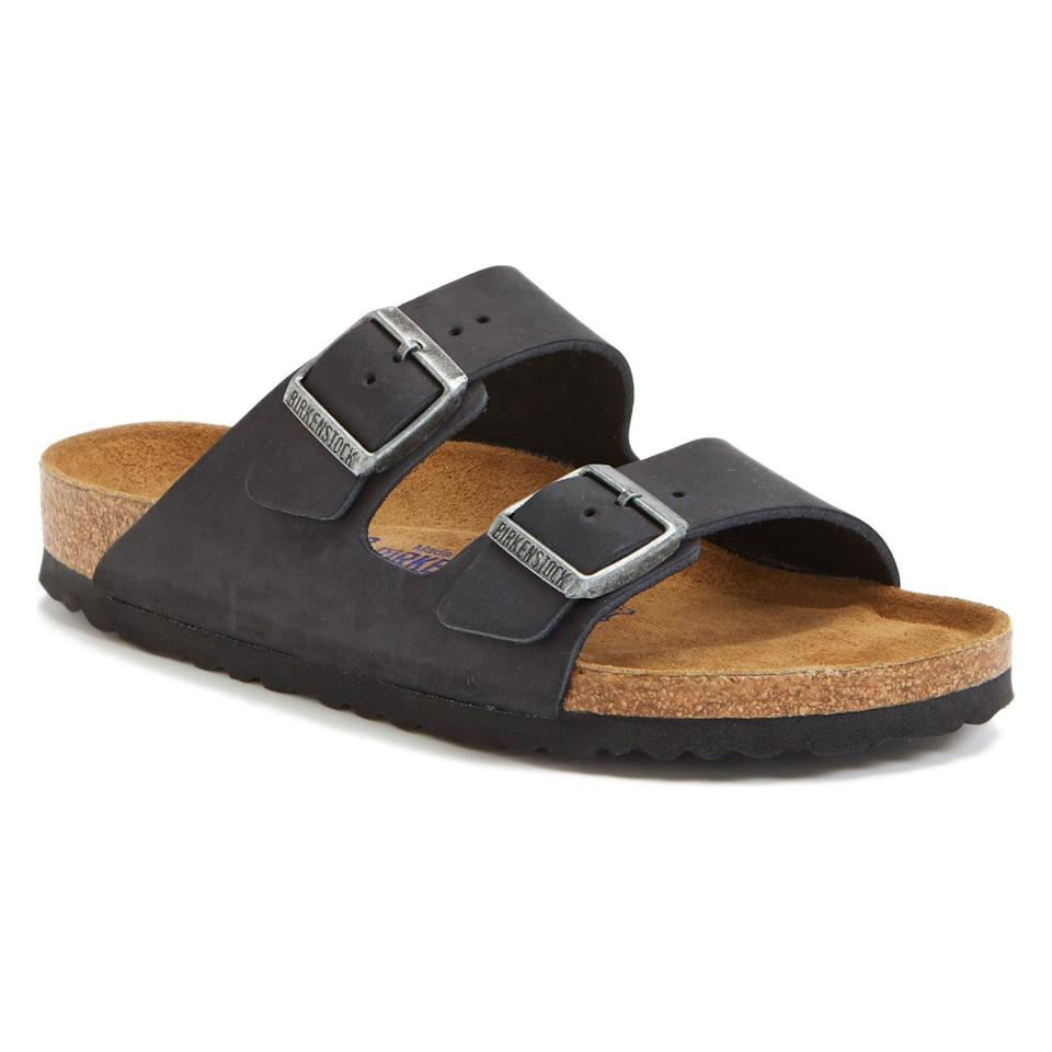 """<p><strong>Birkenstock</strong></p><p>nordstrom.com</p><p><strong>$134.95</strong></p><p><a href=""""https://go.redirectingat.com?id=74968X1596630&url=https%3A%2F%2Fwww.nordstrom.com%2Fs%2Fbirkenstock-arizona-soft-footbed-sandal-women%2F2895195&sref=https%3A%2F%2Fwww.goodhousekeeping.com%2Fclothing%2Fg33264582%2Fmost-comfortable-shoes%2F"""" rel=""""nofollow noopener"""" target=""""_blank"""" data-ylk=""""slk:Shop Now"""" class=""""link rapid-noclick-resp"""">Shop Now</a></p><p>Popular for the<strong> molded cork and latex footbed</strong>, this pair of Birkenstock slides mold to your foot shape for excellent support. The contoured footbed offers arch support and an additional layer of foam for extra cushioning with each step. Built with a unisex design, these shoes are available in five shades, perfect for both men and women. </p>"""