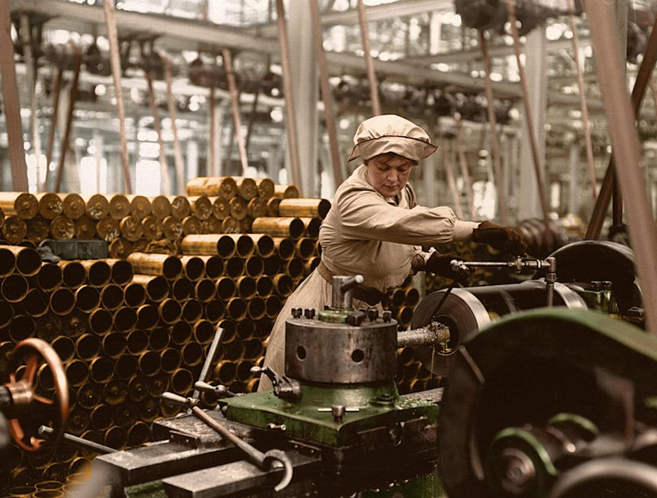 <p>A female British munitions worker makes shells for the soldiers fighting at the front during WW1. (Tom Marshall/mediadrumworld.com) </p>