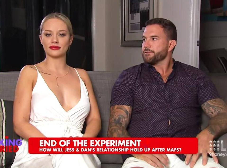 A screenshot of Married At First Sight contestant Jessika Power and Dan Webb on Talking Married in 2019