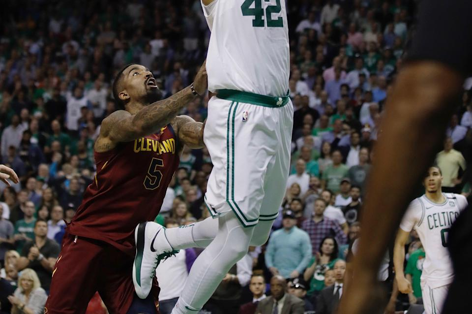 Should J.R. Smith have been assessed a flagrant 2 for shoving Al Horford in the back while he was in the air? (AP)