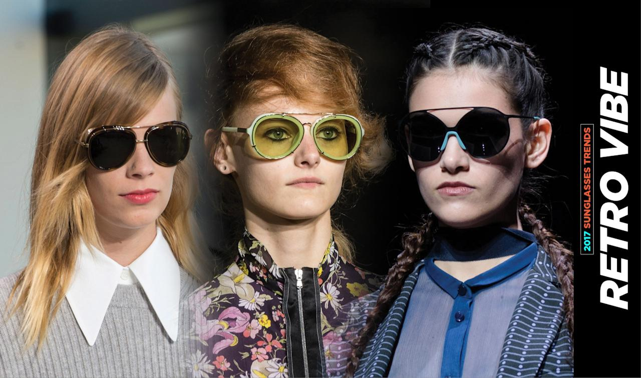 <p>The retro vibe this summer goes beyond just the cat-eye silhouette of the 1950s or the aviators of the '80s. This retro trend is all about the double wire rims, as shown by Emporio Armani, Michael Kors, and Phillip Lim. </p>