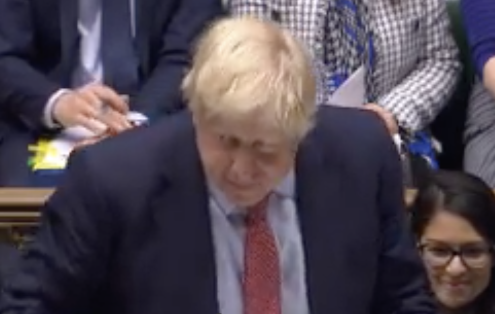 Boris Johnson shortly before he was called a 'desperate liar' on Wednesday (Parliamentlive.tv)