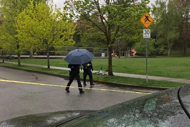 Police at Almond Park Saturday investigate after a stabbing. (Doug Kerr/CBC News - image credit)