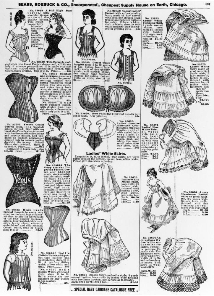 Inside Sears, Roebuck & Co's catalogue displaying ladies corsets and underskirts, circa 1897.