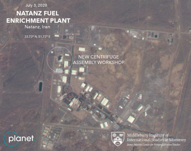 """This Friday, July 3, 2020 satellite image from Planet Labs Inc. that has been annotated by experts at the James Martin Center for Nonproliferation Studies at Middlebury Institute of International Studies shows a damaged building after a fire and explosion at Iran's Natanz nuclear site. An online video and messages purportedly claiming responsibility for a fire that analysts say damaged a centrifuge assembly plant at Iran's underground Natanz nuclear site deepened the mystery Friday around the incident — even as Tehran insisted it knew the cause but would not make it public due to """"security reasons."""" (Planet Labs Inc., James Martin Center for Nonproliferation Studies at Middlebury Institute of International Studies via AP)"""