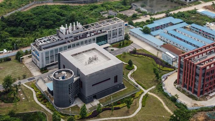 <p>This aerial view shows the P4 laboratory (L) on the campus of the Wuhan Institute of Virology in Wuhan in China's central Hubei province on May 27, 2020. </p> ((Photo by HECTOR RETAMAL/AFP via Getty Images)