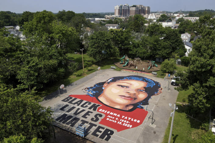 A ground mural depicting a portrait of Breonna Taylor in Annapolis, Md., on July 6. (Julio Cortez/AP)