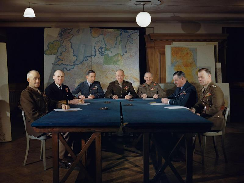 General Dwight D Eisenhower and his senior commanders at Supreme Allied Headquarters in London, February 1944 (Imperial War Museum )