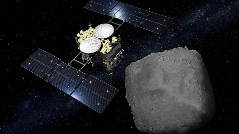Japanese space agency releases visuals of Hayabusa2 spacecraft bombing asteroid Ryugu
