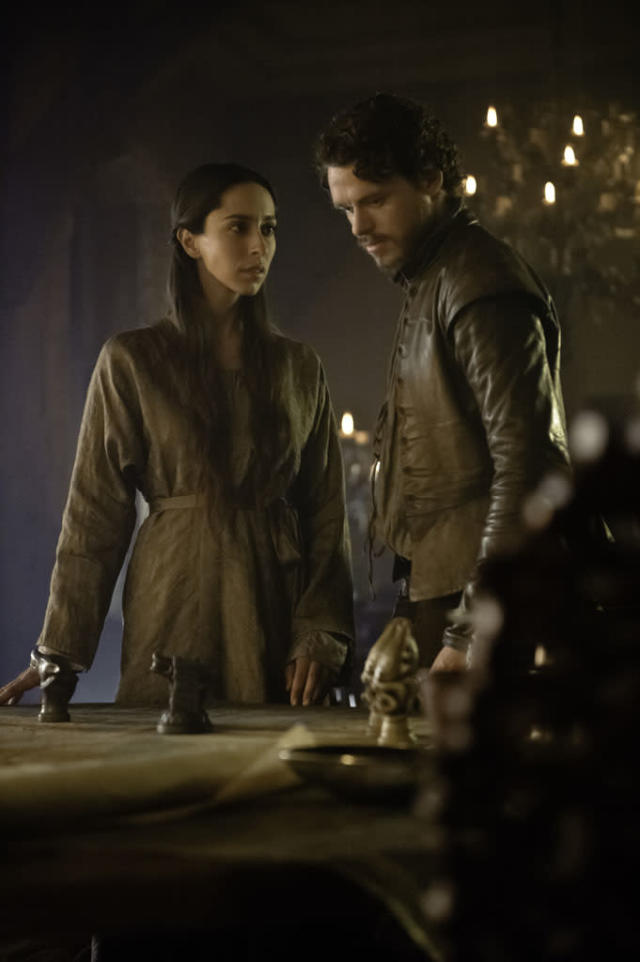 """Oona Chaplin and Richard Madden in the """"Game of Thrones"""" Season 3 episode, """"Kissed by Fire."""""""