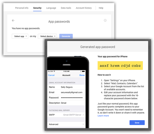 Google app password screen