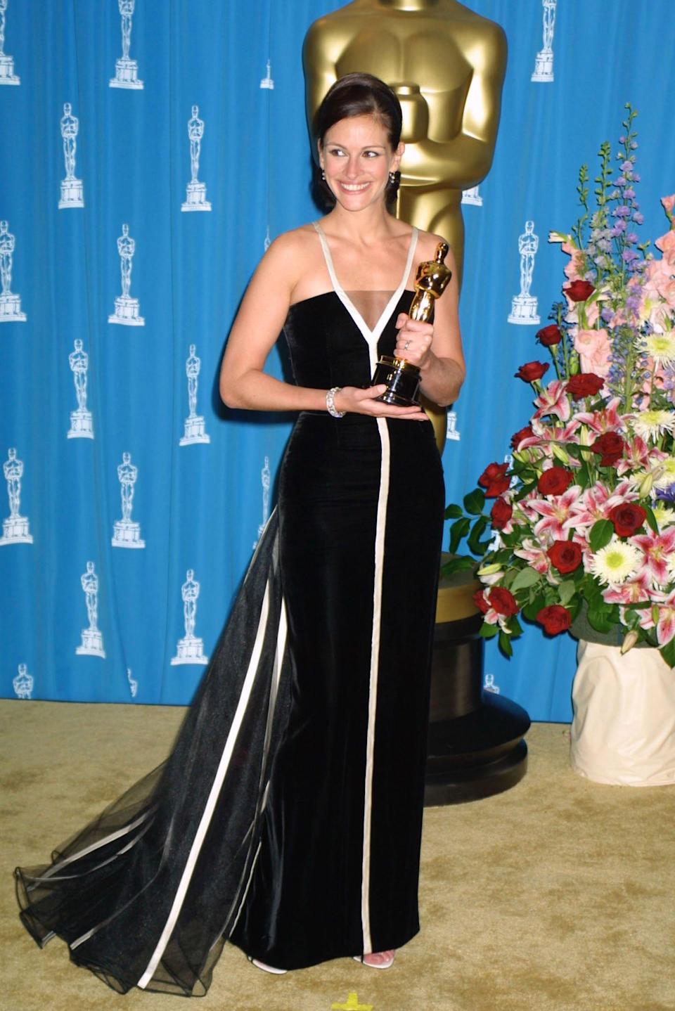 This black and white beaut that Roberts wore to the Oscars in 2001 is another truly memorable gown. The star rocked the look while scooping her best actress award for 'Erin Brockovich' in the vintage number, made for the Italian label's couture collection in 1992.
