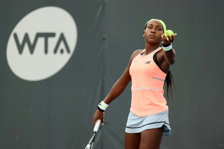 American Coco Gauff on the way to a three-set victory over second-seeded Aryna Sabalenka of Belarus in the WTA tournament at Lexington, Kentucky