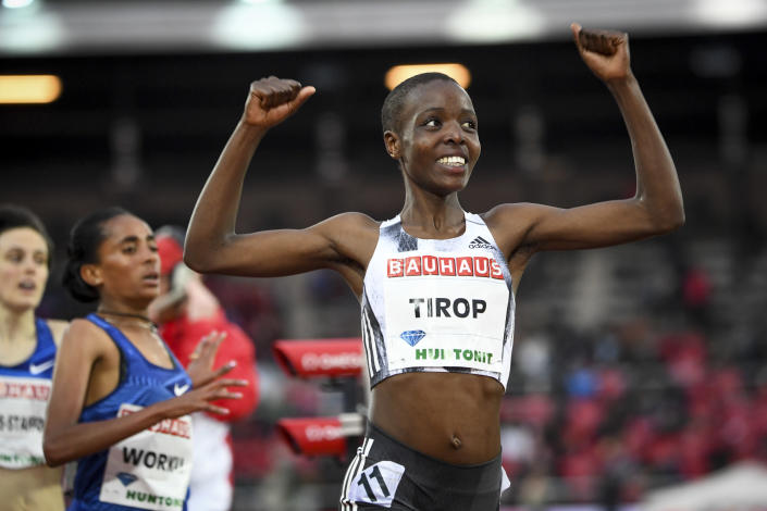 FILE - In this Thursday, May 30, 2019 file photo, Agnes Tirop of Kenya smiles after winning the women's 1500m race at the IAAF Diamond League meeting at Stockholm Olympic Stadium in Stockholm, Sweden. Kenyan runner Agnes Tirop, a two-time world championships bronze medalist, has been found dead at her home in Iten in western Kenya, the country's track federation said Wednesday, Oct. 13, 2021. (Fredrik Sandberg/TT News Agency via AP, File)