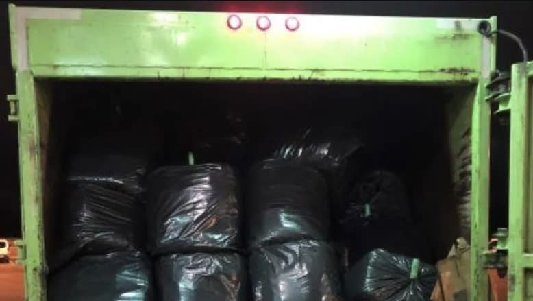 The trash hauler which held the concealed marijuana (U.S. Customs and Border Protection)