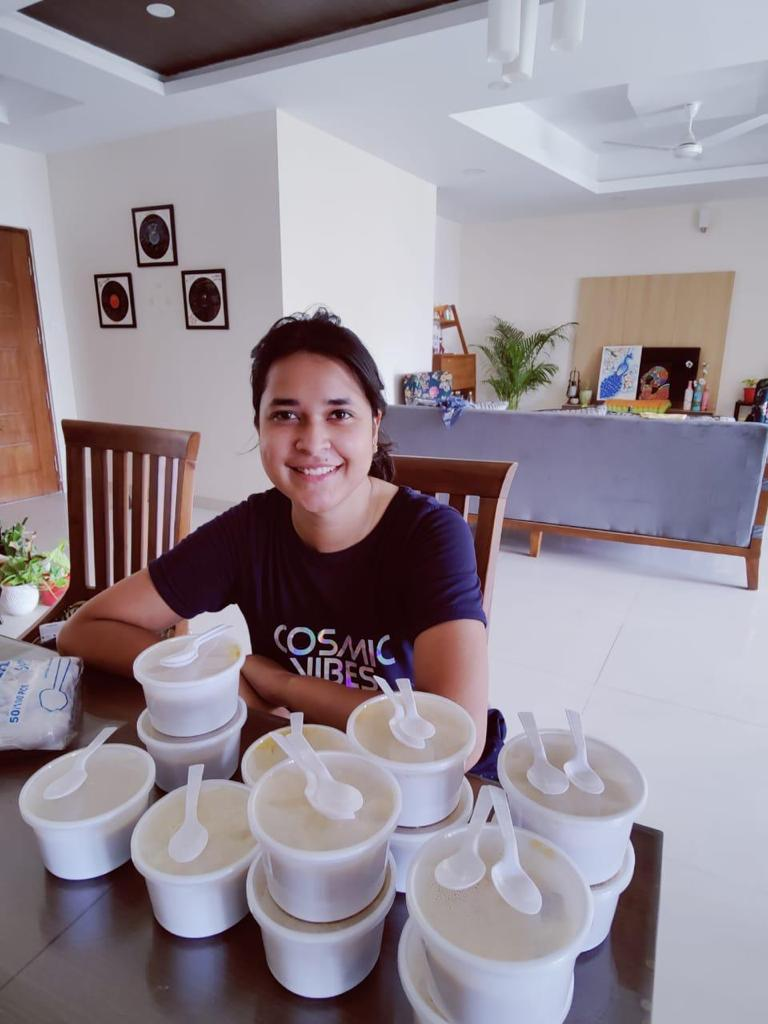 Ankita Sahay with home cooked meals made by her