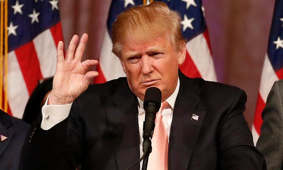 Donald Trump addresses a press conference following his victory in the Florida state primary in West Palm Beach, Florida, in March 2016