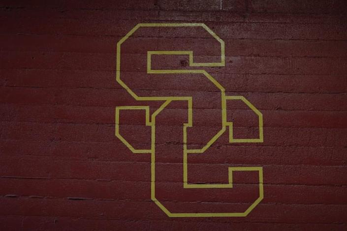 USC logo at the Coliseum in 2018.