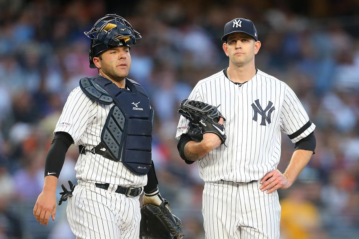 "It's been that type of year for <a class=""link rapid-noclick-resp"" href=""/mlb/players/9331/"" data-ylk=""slk:James Paxton"">James Paxton</a> (right) and the veteran Yankees starters (Mike Stobe/Getty Images)"
