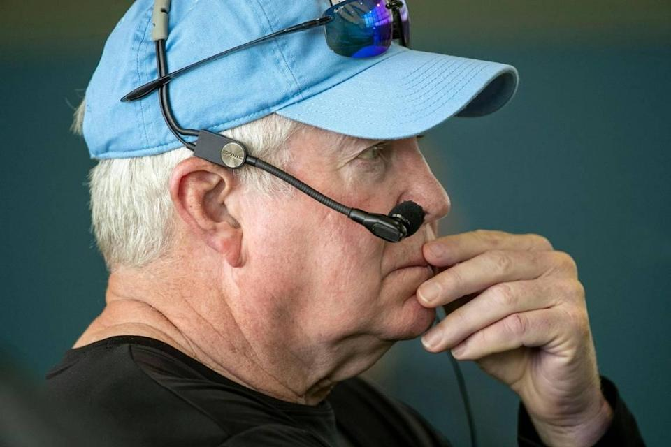 North Carolina coach Mack Brown watches his team during their first practice of the season on Thursday, August 5, 2021 in Chapel Hill N.C.