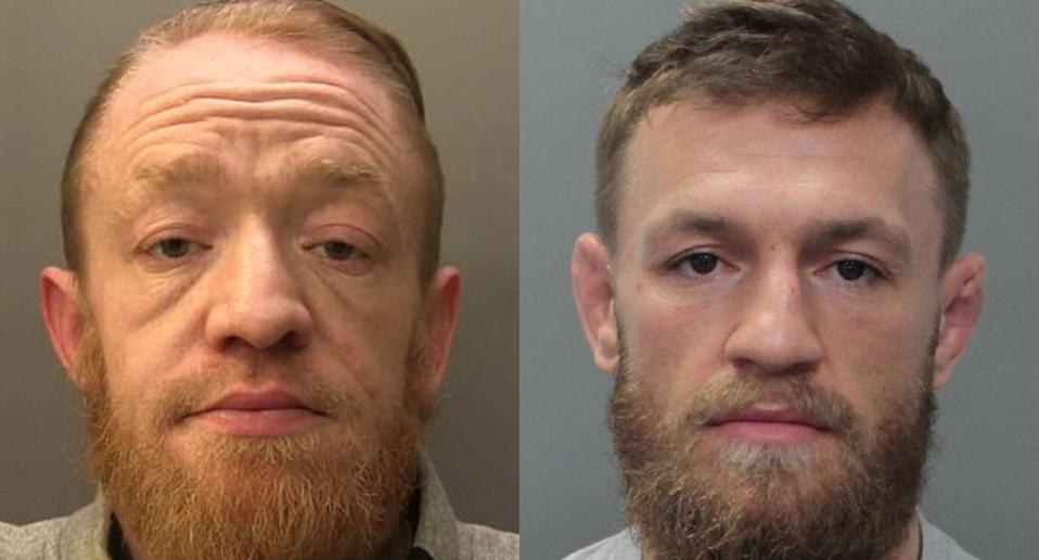 Will the real Conor McGregor please stand up? Mark Nye (left). (Photo: Surrey Police, Reuters)