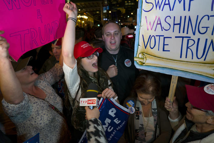 <p>Supporters of Republican president-elect Donald Trump chant on 6th Ave. in New York Wednesday, Nov. 9, 2016. (AP Photo/Craig Ruttle) </p>