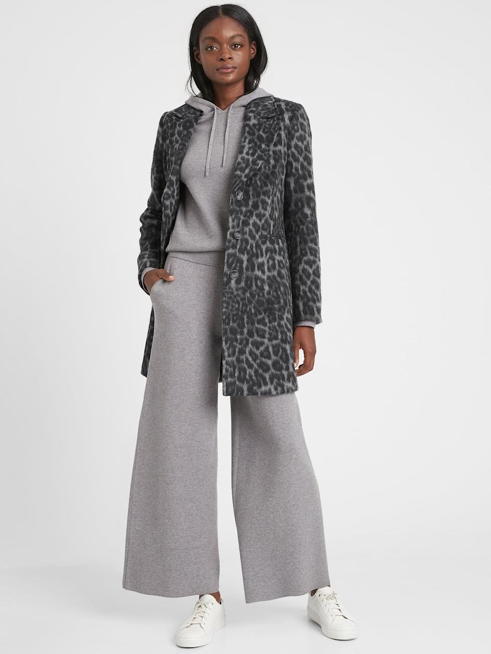 <p>This <span>Banana Republic Leopard Top Coat</span> ($179, originally $299) is a best seller that they've brought back this season. I was thrilled to learn it was primarily made of recycled wool and polyester!</p>