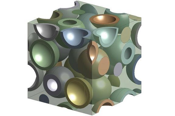 [Pin It] A 3-D computer model showing hollow particles inside a polymer. Engineers made the polymer transparent to better reveal how the hollow glass particles are distributed within the material.