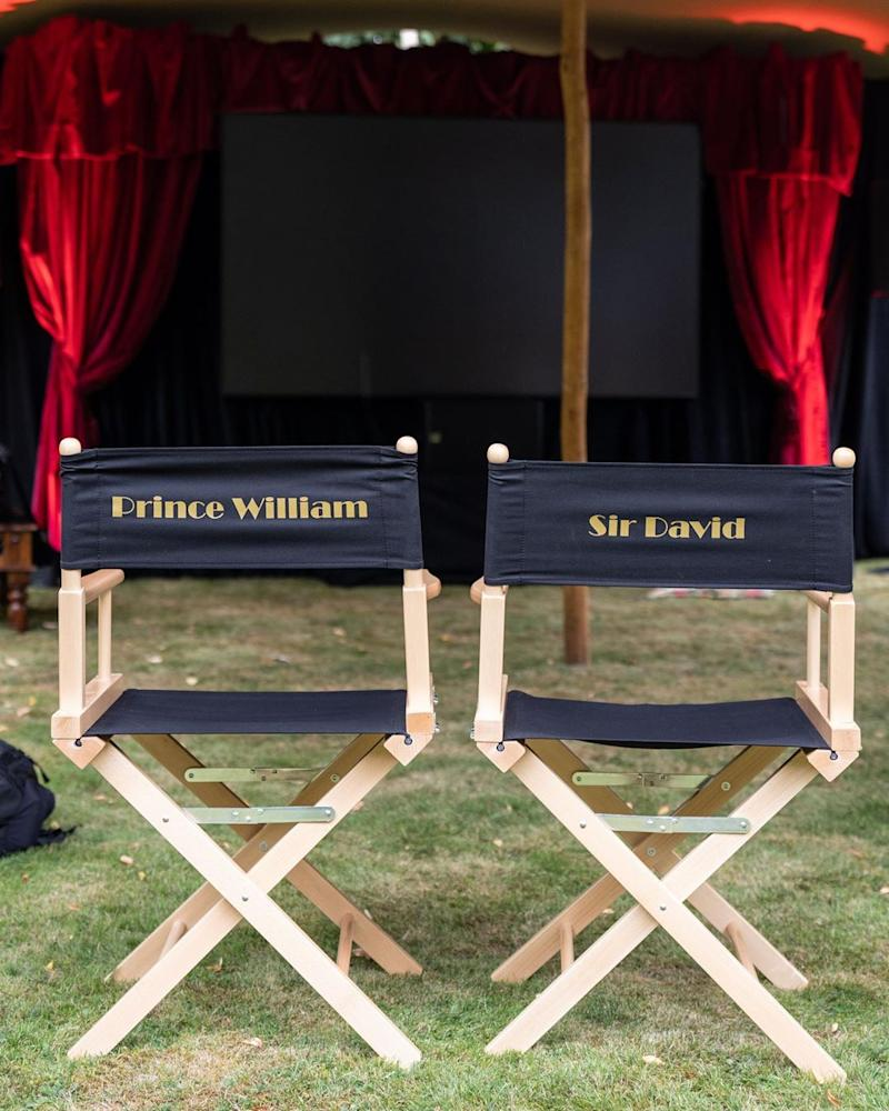 A photo of director's chairs belonging to Prince William and Sir David Attenborough with their names on the back