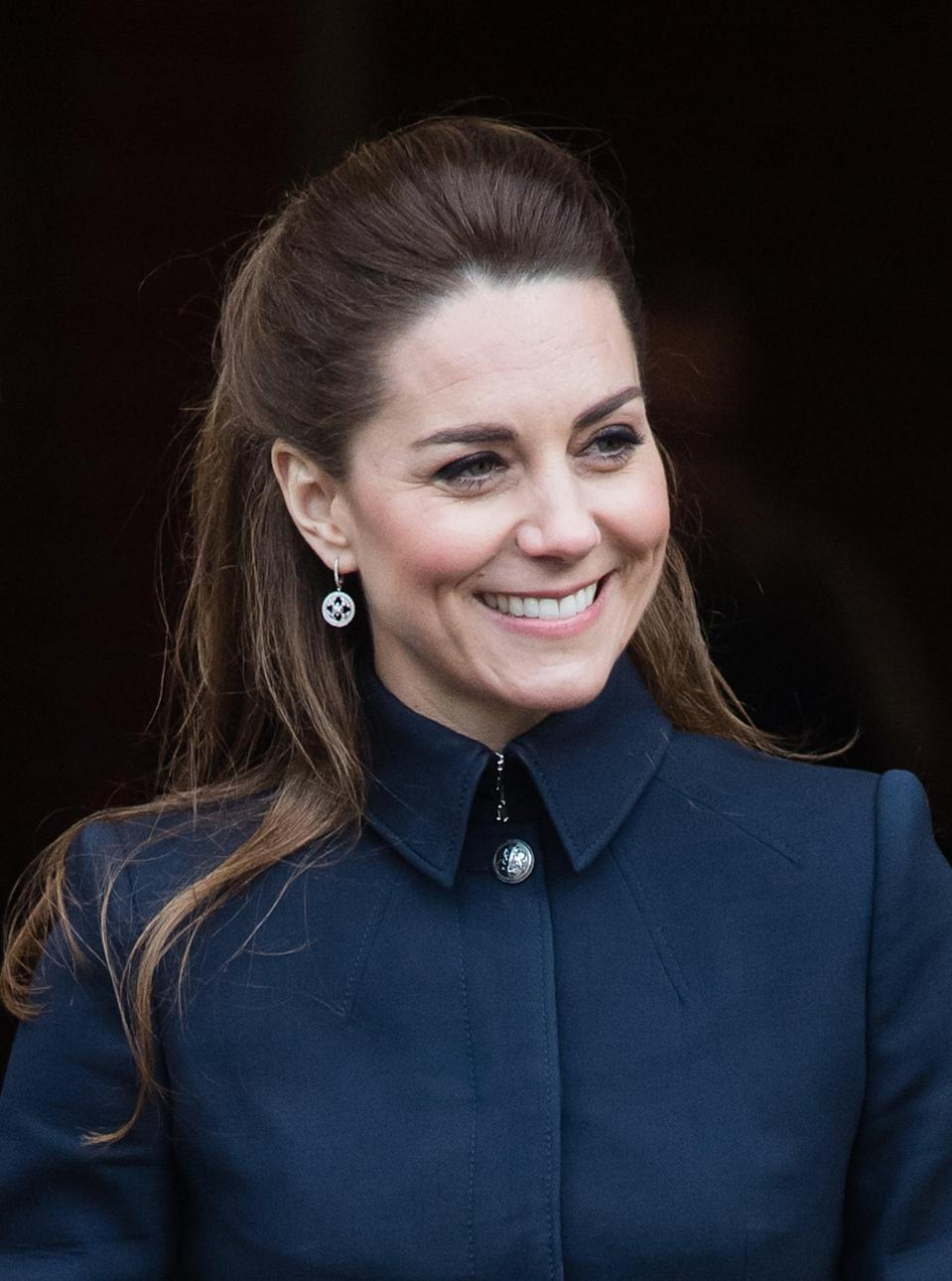 <p>At an appearance in Leicestershire, the duchess changed things up with an elegant half-up style that we haven't seen from her in a while. Volume at the crown of her head kept the style from looking too severe, while the slight bend through the mid-lengths broke up the strict, linear lines of her coat.</p>