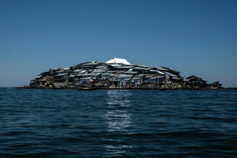A newly-built tin roof shines on top of Migingo island where its residents fish mainly for Nile perch in Lake Victoria on the border of Uganda and Kenya
