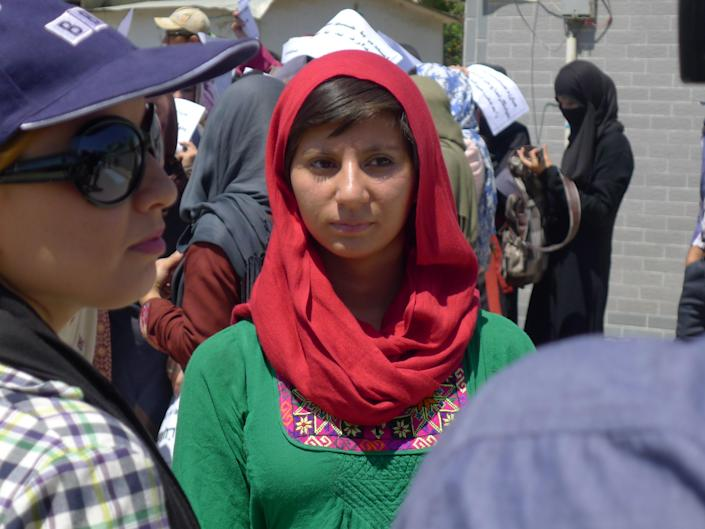 Noorjahan Akbar at a protest against violence against women in Kabul in 2013